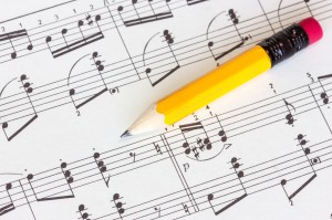 Musical notes with yellow pencil